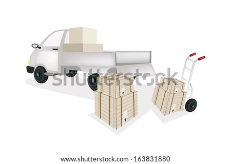 Hand Truck or Dolly Loading Wooden Crate or Cargo Box into A Pickup, Ready for Shipping or Delivery.  - stock vector