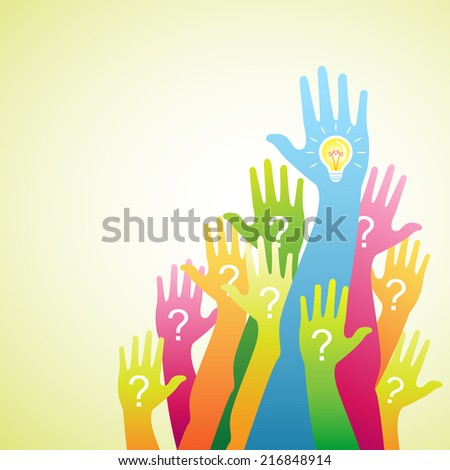 hand up.Question and Answers  - stock vector