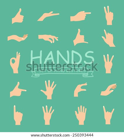 Hand vector collection on green background modern style