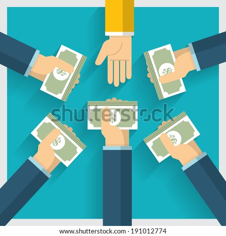 Hand vector exchange money idea and one way provide benefit - stock vector