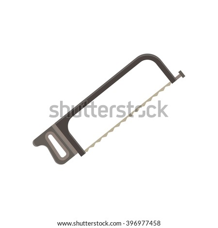 Hand vector saw chainsaw hacksaw flat isolated on white background. Wood processing tool. Construction equipment. Cartoon icon design.