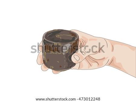 Hand was holding a cup of tea isolated on whitebackground