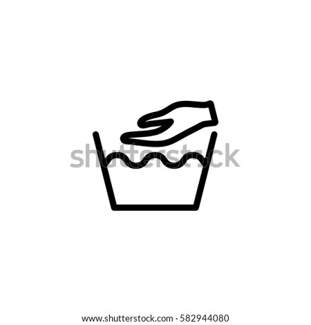 Hand Washing Laundry Symbol Line Icon Stock Vector 582944080