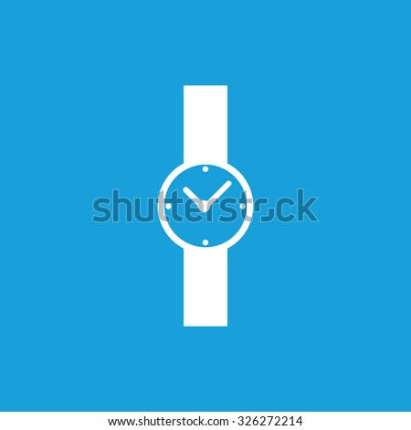 Hand watch icon, white simple image isolated on blue background - stock vector