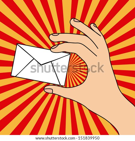 hand whit card over grunge background vector illustration - stock vector