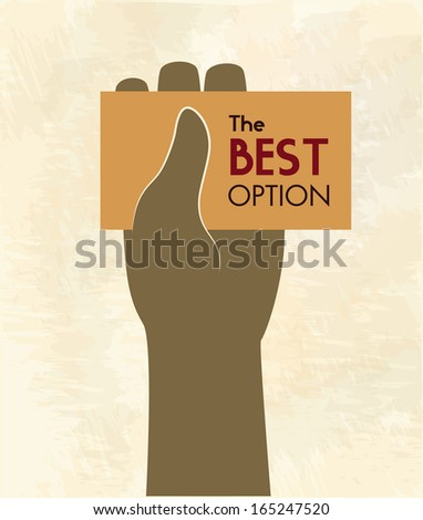hand whit card over pink  background vector illustration - stock vector