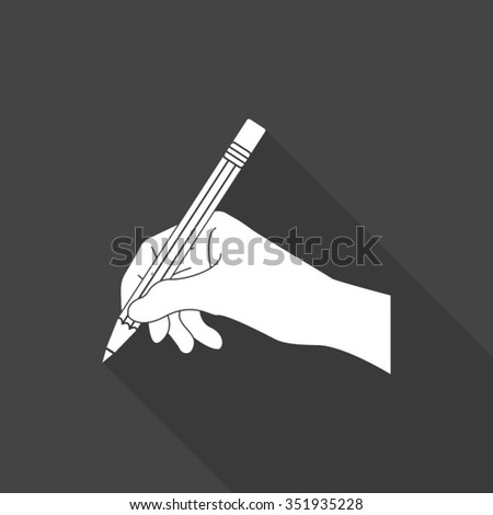 hand wit pencil vector icon with long shadow - stock vector