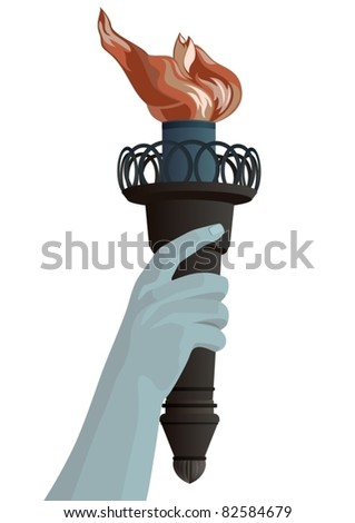 Hand with a burning torch. The illustration on white background.