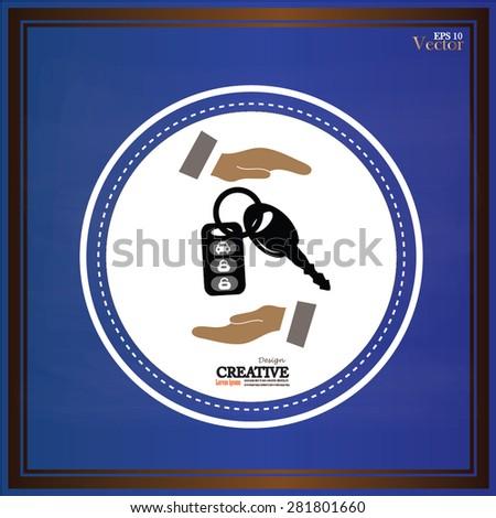 Hand with a car key on chalkboard.key car.vector illustration. - stock vector