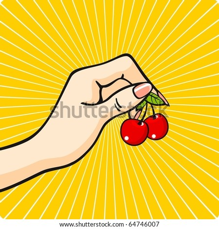 Hand with a cherry - stock vector