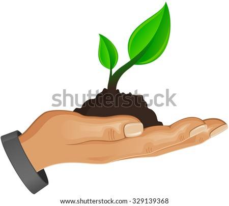 Hand with a sprout, vector icon.