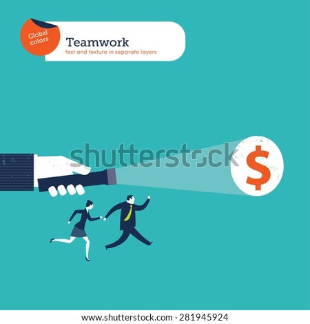 Hand with a torch light showing money to a business group. Vector illustration Eps10 file. Global colors. Text and Texture in separate layers. - stock vector