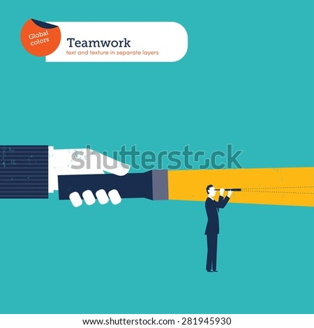 Hand with a torch lighting the path to another businessman. Vector illustration Eps10 file. Global colors. Text and Texture in separate layers. - stock vector