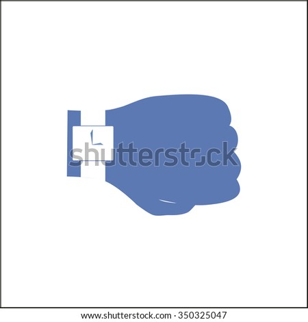 Hand with a watch icon, Business Time on a white background vector illustration