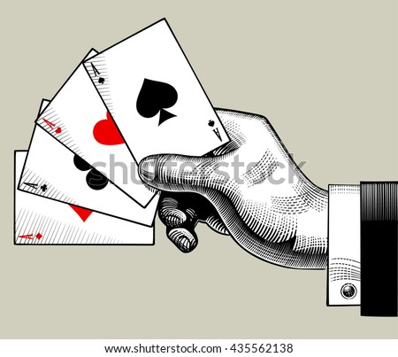 Hand with ace playing cards fan. Vintage engraving stylized drawing. Vector illustration  - stock vector