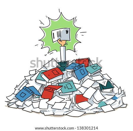 Hand with agreement reaches out from document folders heap. cartoon illustration isolated on white background - stock vector