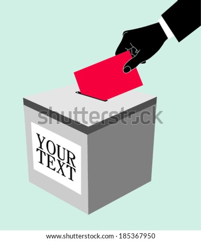 Hand with ballot and box , vector illustration - stock vector