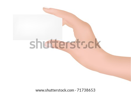Hand With Blank, Isolated On White Background, Vector Illustration