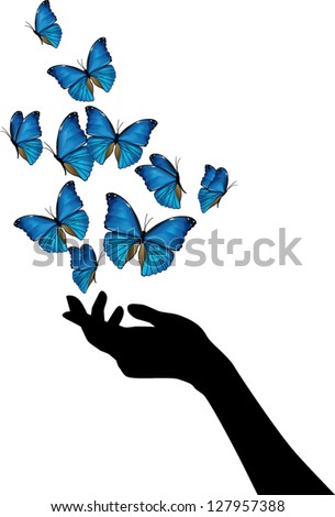 Hand with blue butterflies flying - stock vector