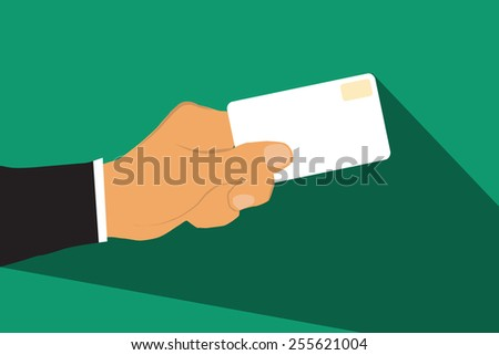 Hand with card flat design. - stock vector