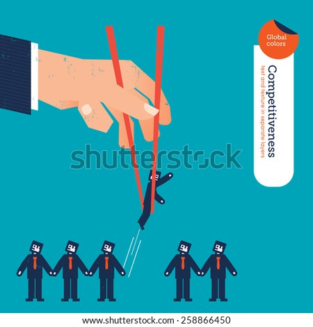 Hand with chopstick picking a businessman from a group. Vector illustration Eps10 file. Global colors. Text and Texture in separate layers. - stock vector