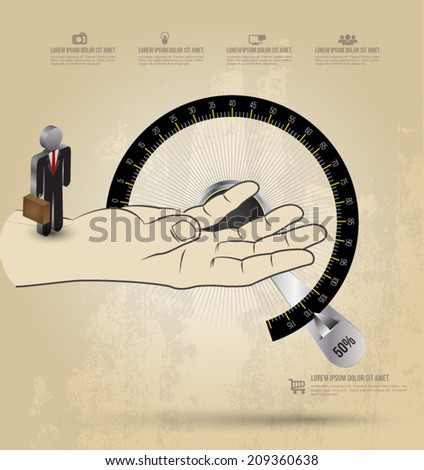 Hand with circle scale on background texture. Can use for business concept. - stock vector