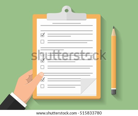Hand with clipboard, survey or test concept, clipboard with documents with check boxes and pencil, flat design, vector eps10 illustration