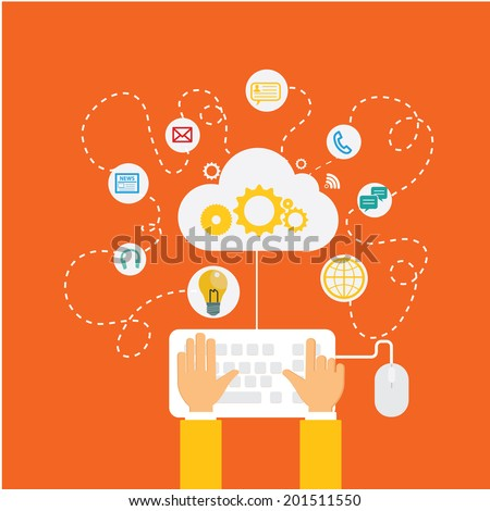 hand with cloud surrounded by icons. Concept of communication in the network