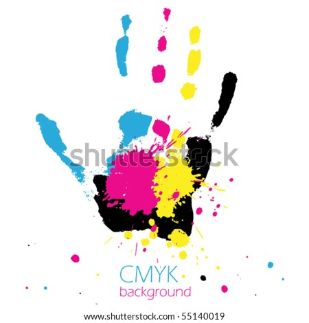 Hand with CMYK ink splashes - stock vector