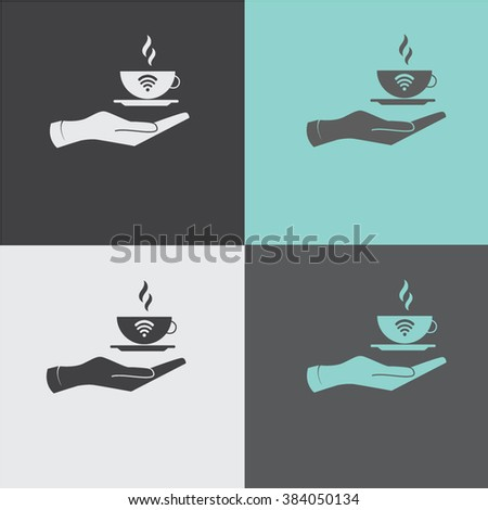 Hand with coffee cup vector icon.Wi-Fi - stock vector