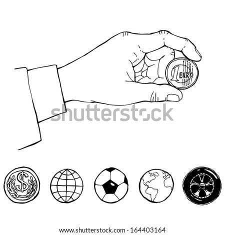 hand with coin. sketch - stock vector