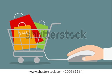 Hand with computer mouse and shopping cart with sale. Vector illustration.  - stock vector