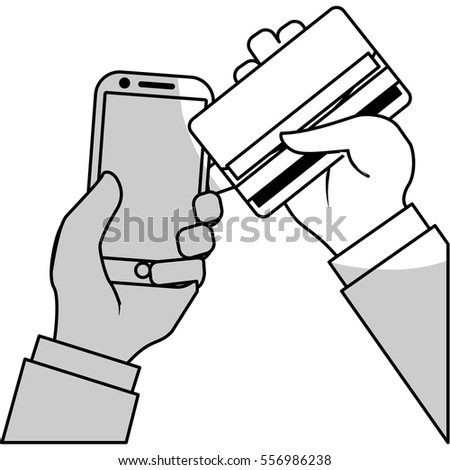 hand with credit card and smartphone icon over white background. mobile payments concept. vector illustration