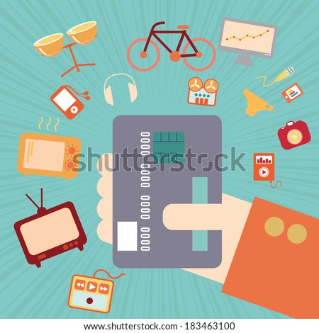 Hand with credit card for online shopping concept, vector format - stock vector