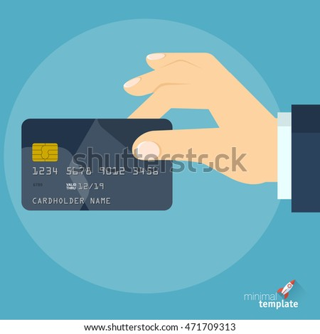 Hand with credit card. Vector icon template for online sopping, internet banking, mobile payment.