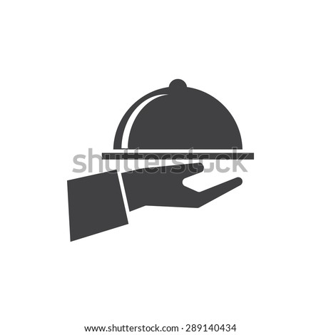 hand with dish icon - stock vector