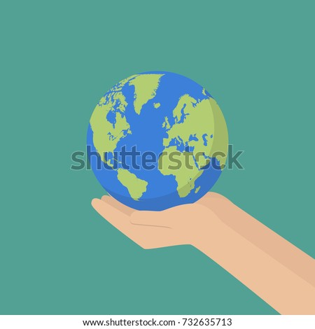 Hand with earth globe. Save the planet