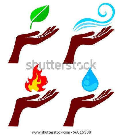 Hand with four nature element: tree leaf, fire, water and wind - stock vector