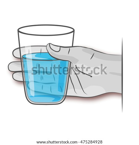 Hand with glass of fresh clean water