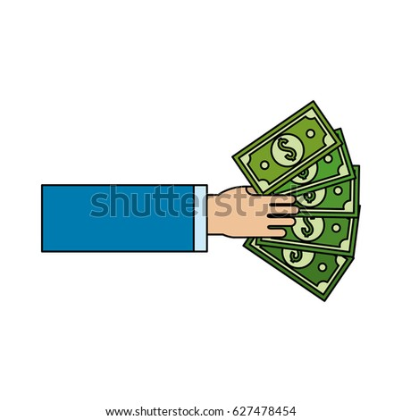 hand with green bill money