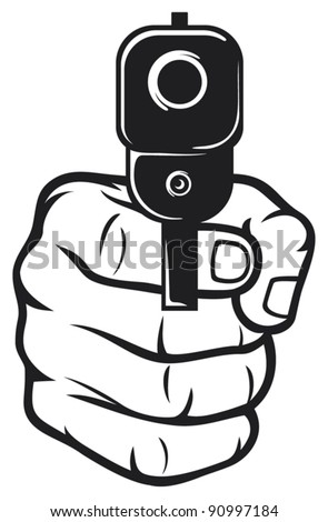 hand with gun (pistol), gun pointed - stock vector