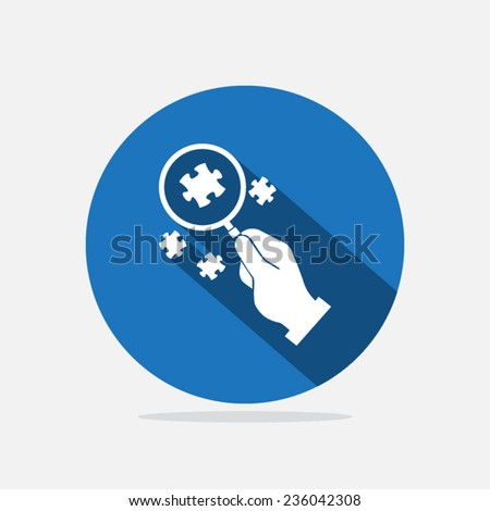 Hand with magnifying glass and puzzle  - stock vector