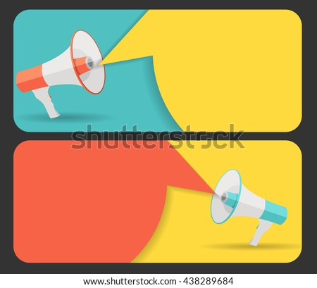 Hand with Megaphone and Speech Bubble Vector Illustration EPS10 - stock vector