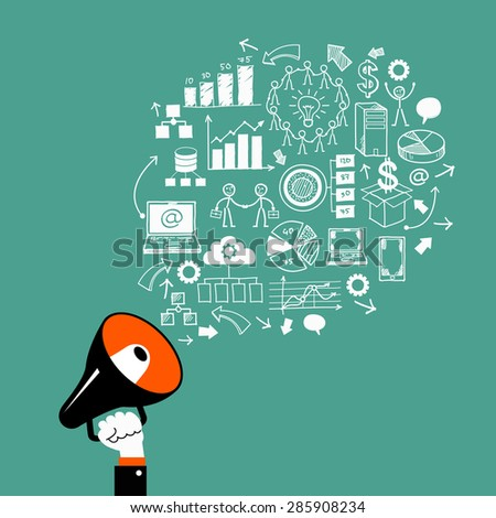 Hand with megaphone, surrounded by doodle business icons.  The concept of marketing business. - stock vector