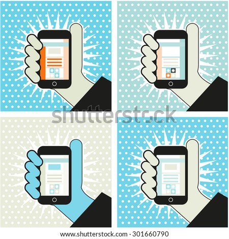 hand with mobile phone pop art illustration social media symbol backgronds - stock vector