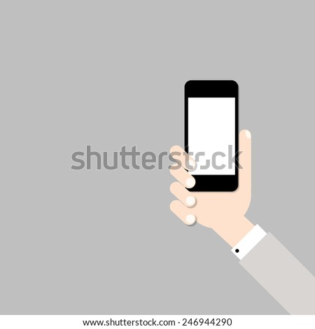 Hand with mobile phone. Vector illustration - stock vector
