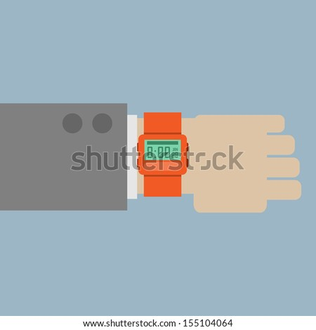 Hand with modern watch - stock vector
