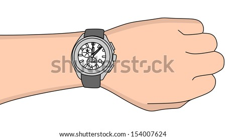 Hand with modern watch, vector illustration - stock vector