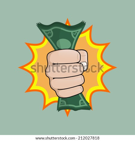 hand with money - stock vector