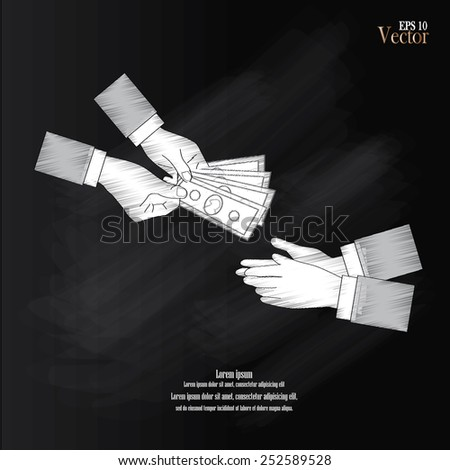 hand with money vector.give money.money concept.vector illustration  of hand giving money to other hand          - stock vector